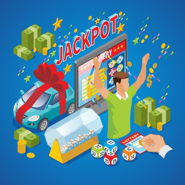 Изометрическая композиция для лотереи с победителем, денежные монеты, автомобильный джекпот, надпись, мгновенный лотерейный барабан, телевизор, изолированные шары лото Бесплатные векторы