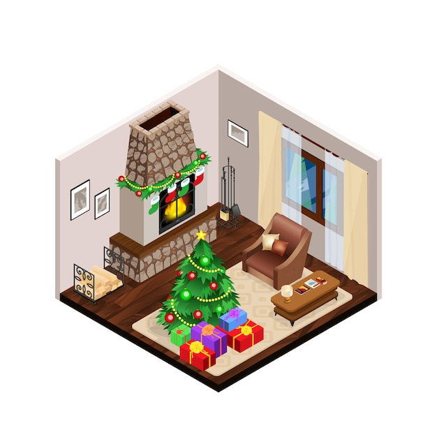 Isometric lounge christmas interior with fireplace Free Vector