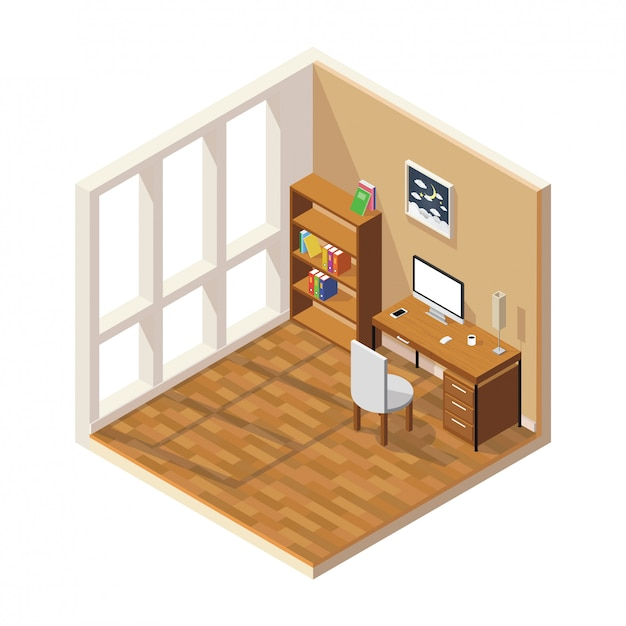 Isometric low poly room cutaway Premium Vector