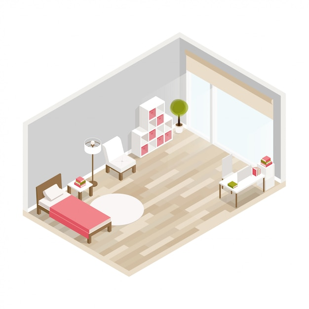 Isometric luxury interior for bedroom with bed bedside tables window and decoration Premium Vector