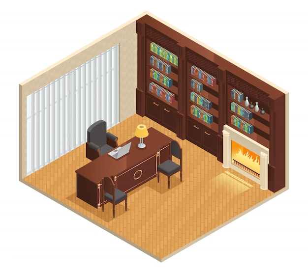 Isometric luxury interior for study with furniture laptop Free Vector