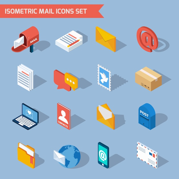 Isometric mail icons Free Vector