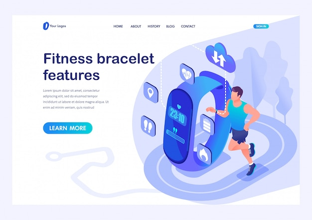 Isometric male athlete uses a fitness bracelet, the properties and performance of the device. template landing page for website Premium Vector