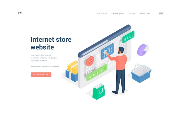 Isometric male standing near basket and paper bag and making purchases in online shop with good rating on banner of internet store website Premium Vector