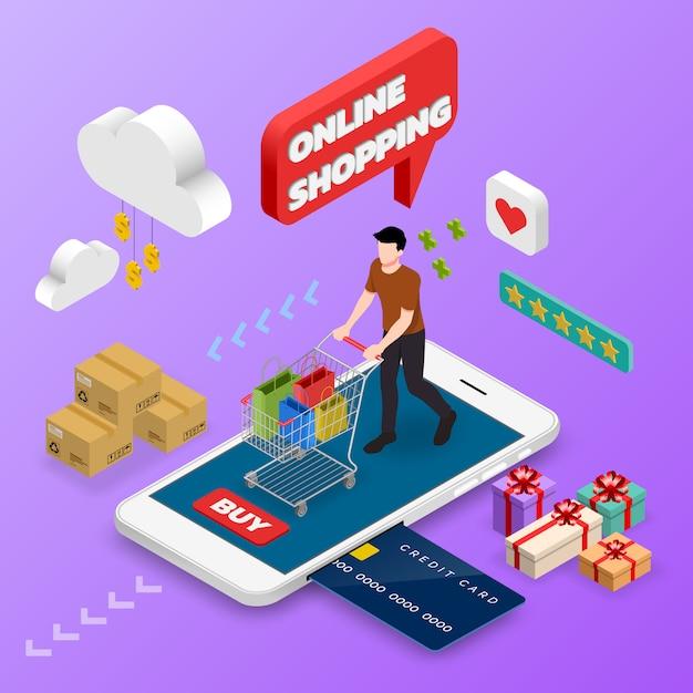Isometric man shopping on smart phone. Premium Vector
