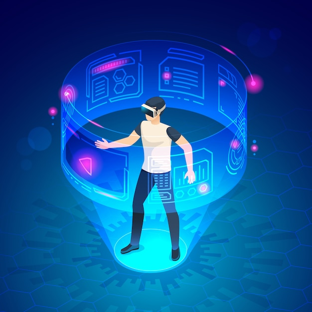 Isometric man in vr. future world virtual goggles headset gadgets game entertainment  illustration Premium Vector