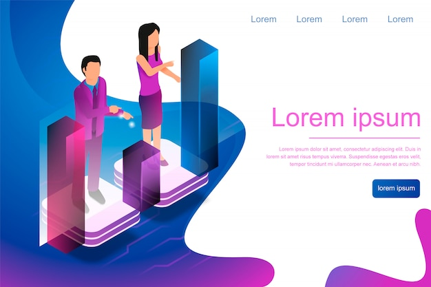Isometric man and woman engaged in online analytic Premium Vector