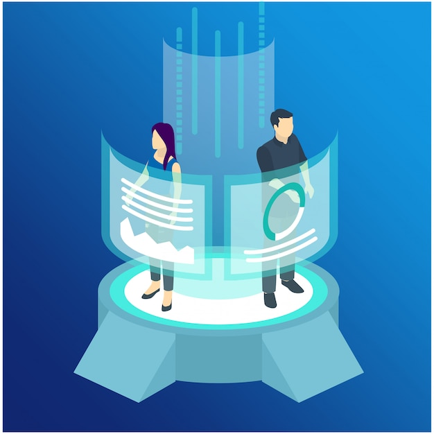 Isometric man and woman wearing virtual reality Premium Vector