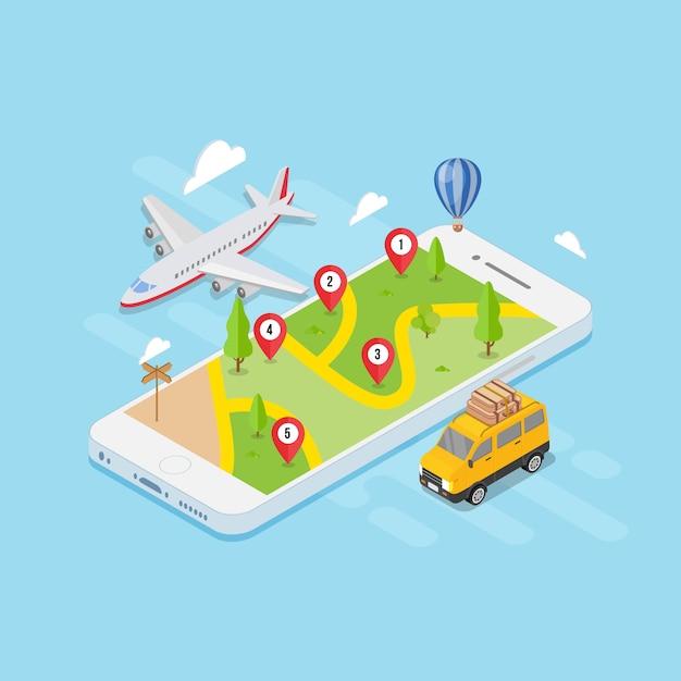 Isometric map location travel concept Premium Vector