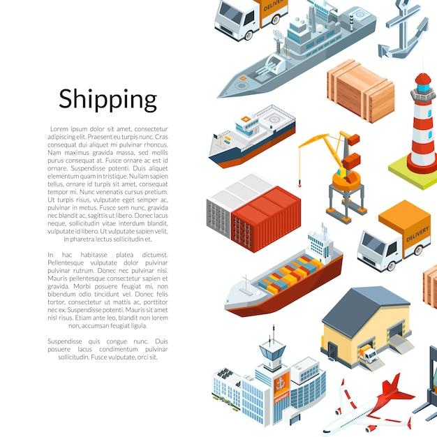 Изометрическая морская логистика и морской порт Premium векторы