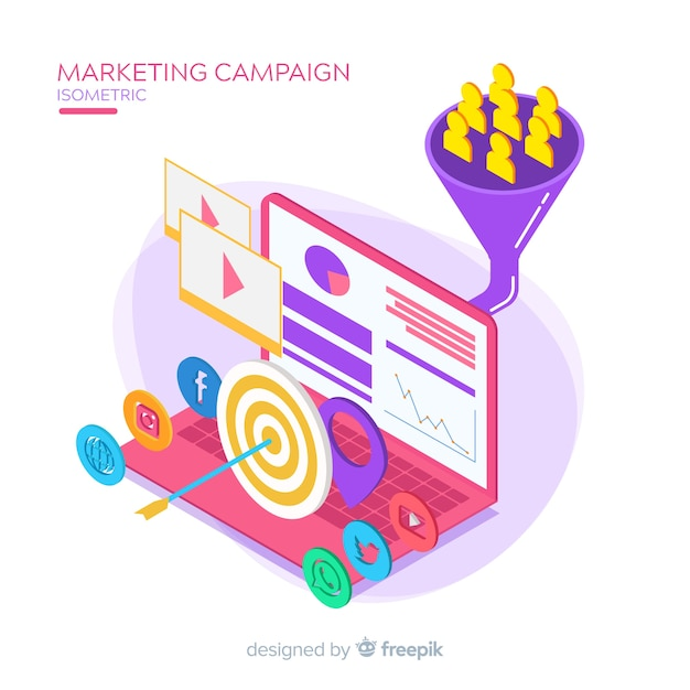 Isometric marketing campaign background Free Vector