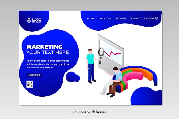 Isometric marketing landing page template Free Vector