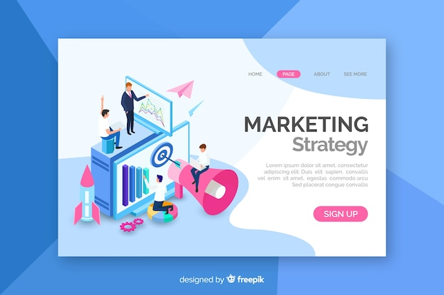 Isometric marketing landing page Free Vector