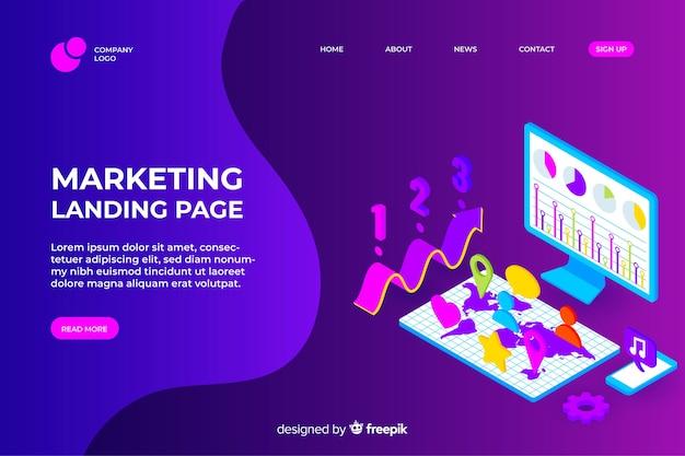 Isometric marketing landing page Free Vector