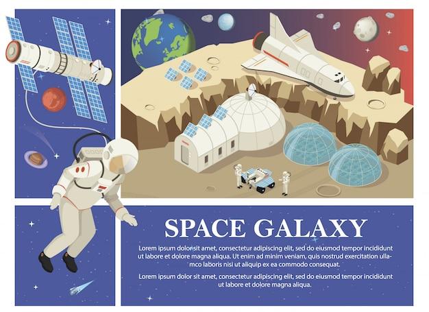 Изометрическая композиция колонизации марса со спутниками космонавтов космическая станция ровер шаттл солнечные панели планета земля Бесплатные векторы