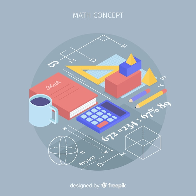 Isometric math concept background Free Vector