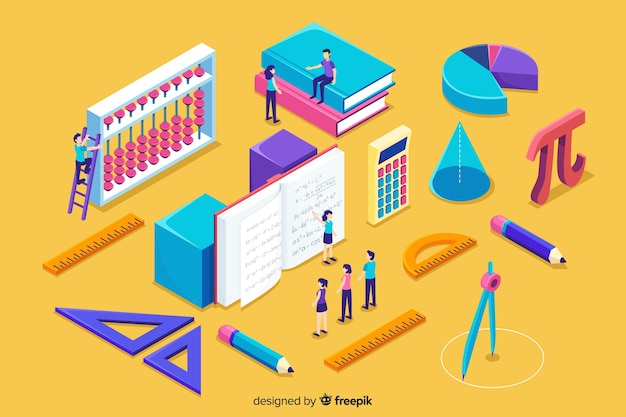 Isometric math concept background Premium Vector
