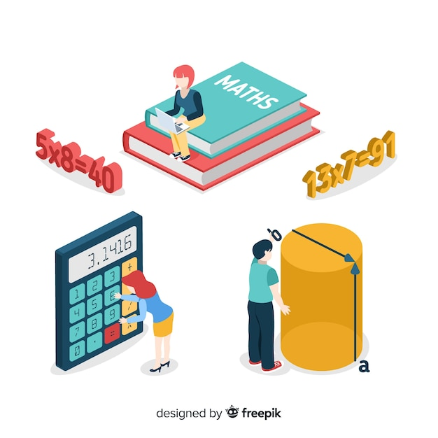 Isometric math elements background Free Vector