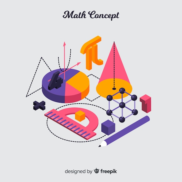 Isometric maths concept background Free Vector