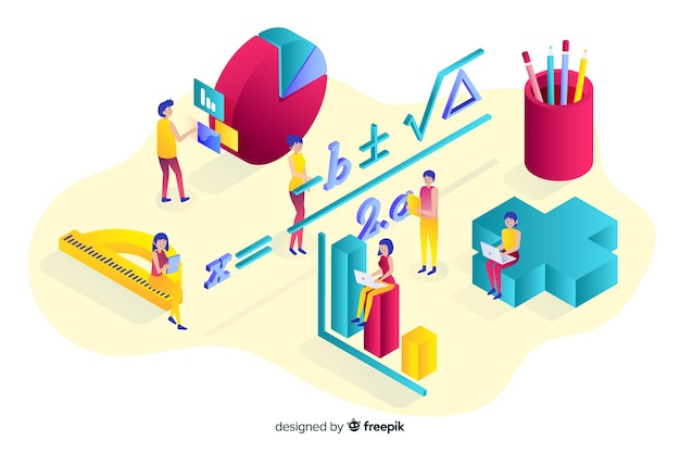 Isometric maths elements background Free Vector
