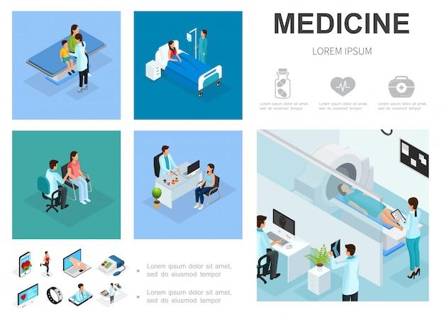 病棟の患者と等尺性の医療テンプレートテンプレート人々は医師を訪問mriスキャン手順デジタル医学アイコン 無料ベクター