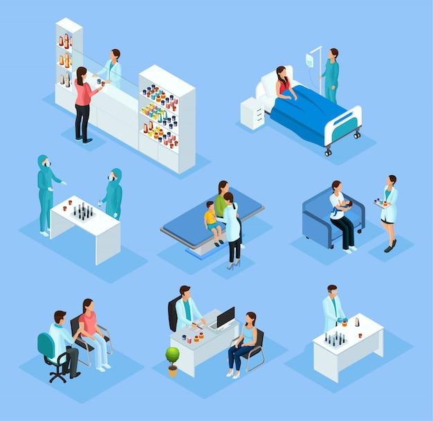 Набор изометрической медицинской подготовки и лечения Бесплатные векторы