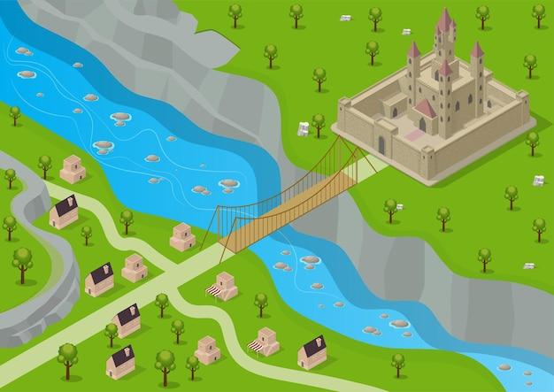 Изометрический средневековый замок, окруженный крепостью с рекой, мостом и деревней напротив. Premium векторы
