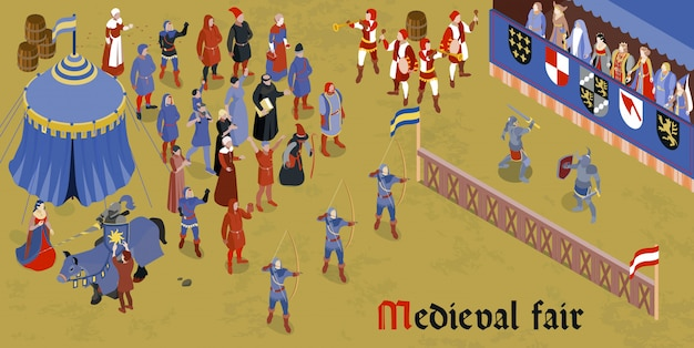 Isometric medieval horizontal composition with medieval fair headline and group of people on square Free Vector