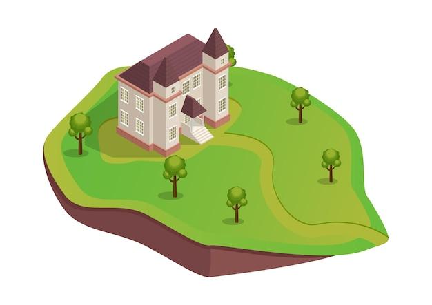 나무와 언덕에 아이소 메트릭 중세 집 프리미엄 벡터