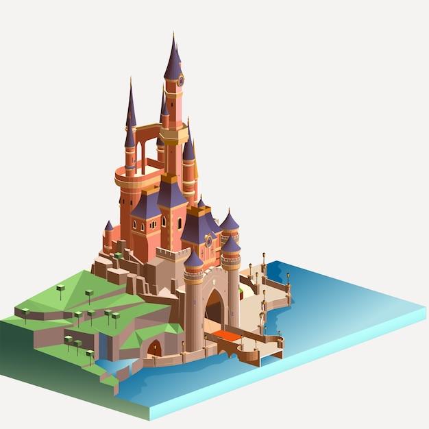 Изометрические средневековый каменный замок Premium векторы