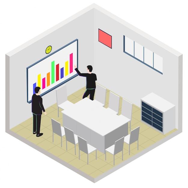 Isometric meeting office room icon Premium Vector