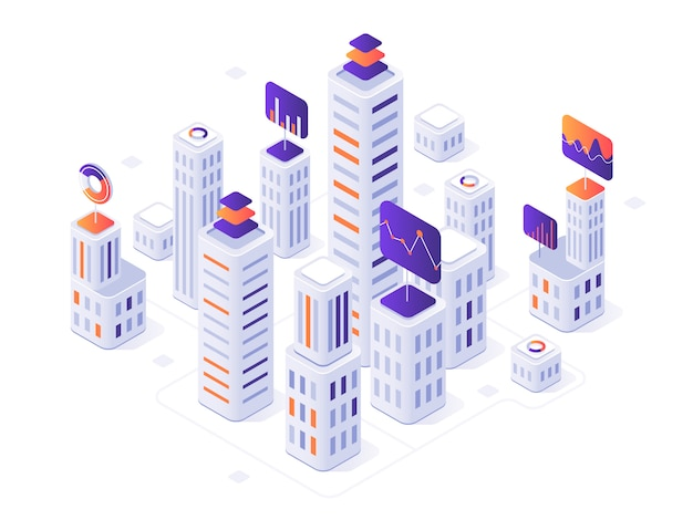 Isometric megalopolis infographic. city buildings, futuristic urban and town business office district metrics 3d  illustration Premium Vector