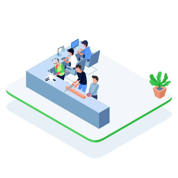 Isometric men working together at a workshop Premium Vector