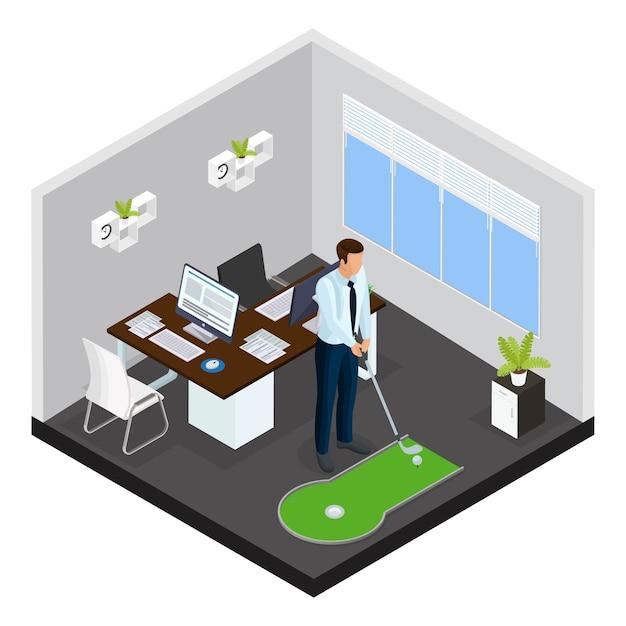 ビジネスマンがオフィスの小さなコースでゲームをプレイすることで等尺性ミニゴルフテンプレート 無料ベクター