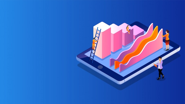 Isometric miniature people maintain growth infographic or analysis data. Premium Vector
