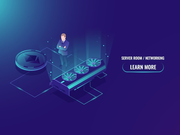 Isometric mining farm server, extract crypto currency miner, server room Free Vector