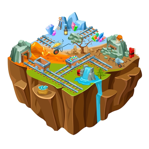 Isometric mining game island Free Vector