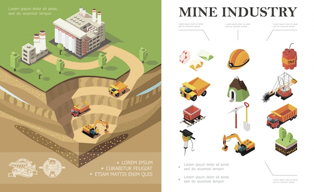 Isometric mining industry composition with factory industrial vehicles digging quarry mine precious stones dynamite shovel pickaxe trees hammer drill miner helmet Free Vector