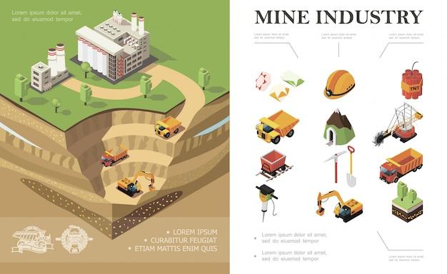 Изометрическая композиция горнодобывающей промышленности с заводскими промышленными транспортными средствами, копающими шахту, добывающую драгоценные камни, лопату динамита, кирку, деревья, перфоратор, шахтерский шлем Бесплатные векторы