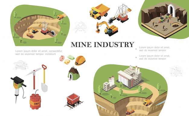 Изометрическая композиция горнодобывающей промышленности с промышленными машинами, копающими шахтеры, работающие рядом с шахтным заводом, буровая кирка, лопата, динамит, тележка, драгоценные камни, шлем Бесплатные векторы