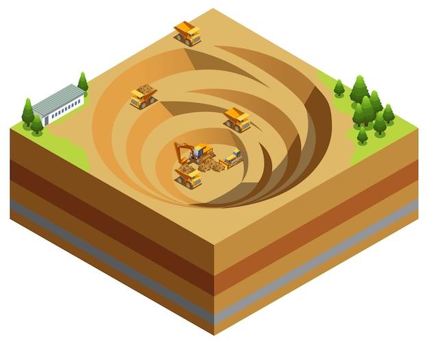 Concetto di industria mineraria isometrica Vettore gratuito