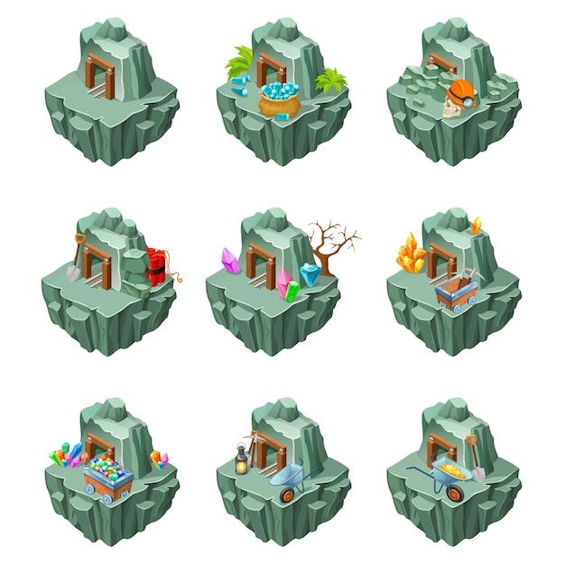 Isometric mining islands set Free Vector