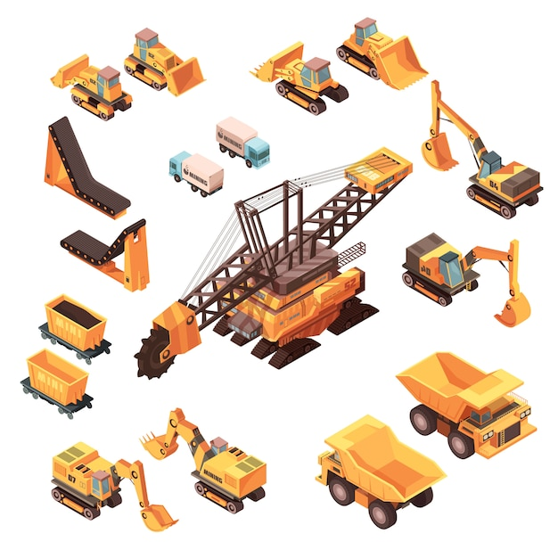 Isometric mining set of isolated machinery images Free Vector