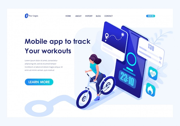Isometric mobile app to track your workouts, girl running. header concept. template landing page for website Premium Vector