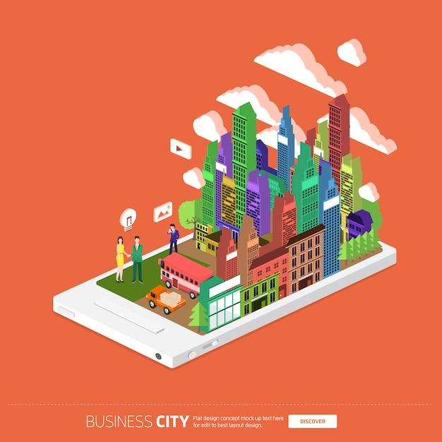 Isometric_mobile_city_08 Premium Vector
