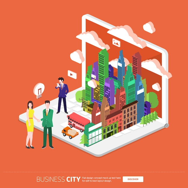 Isometric mobile city connected Premium Vector