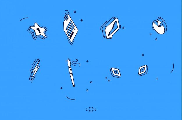 Изометрические мобильные иконки для бизнеса, маркетинга Бесплатные векторы