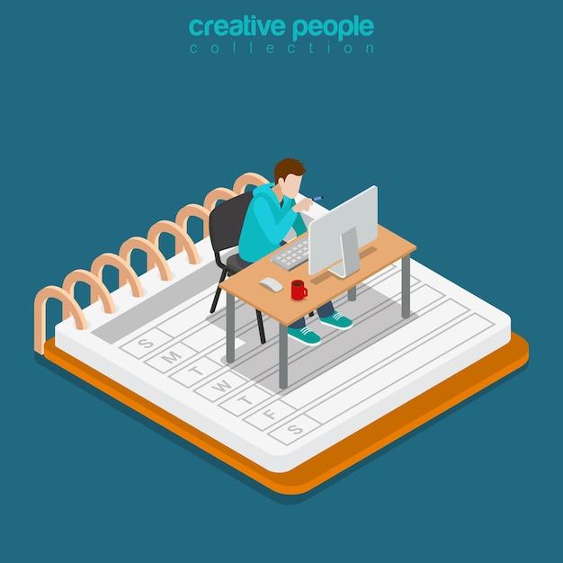 Concetto di affari di lavoro d'ufficio mobile isometrico. illustrazione concettuale del sito web di isometria 3d piatto Vettore gratuito
