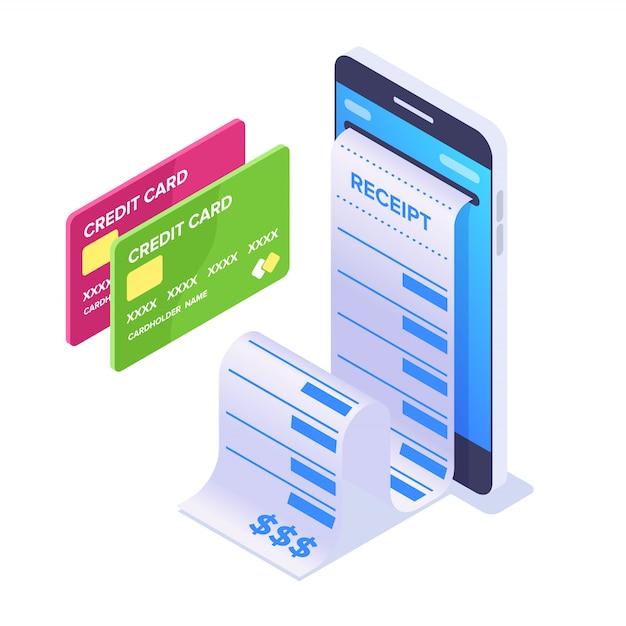 아이소 메트릭 모바일 결제 개념입니다. 스마트 폰 및 출납원 수표. 온라인 결제 용 은행 카드 프리미엄 벡터