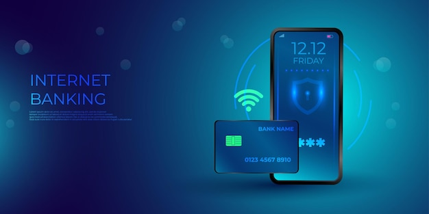 Изометрические мобильный телефон и интернет-банкинг. транзакция безопасности онлайн-платежей с помощью кредитной карты. защита покупок беспроводная оплата через смартфон. Premium векторы